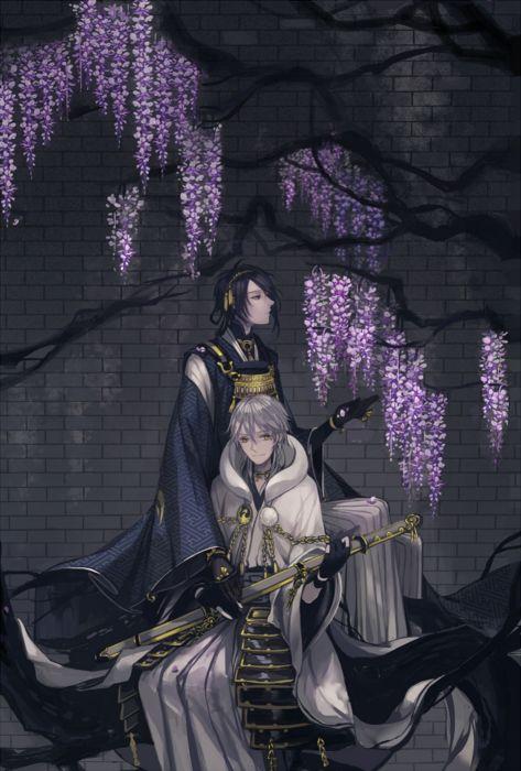 tree flower touken ranbu anime series boys characters original wallpaper