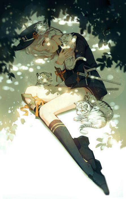 gototai touken ranbu anime series tigers characters original wallpaper