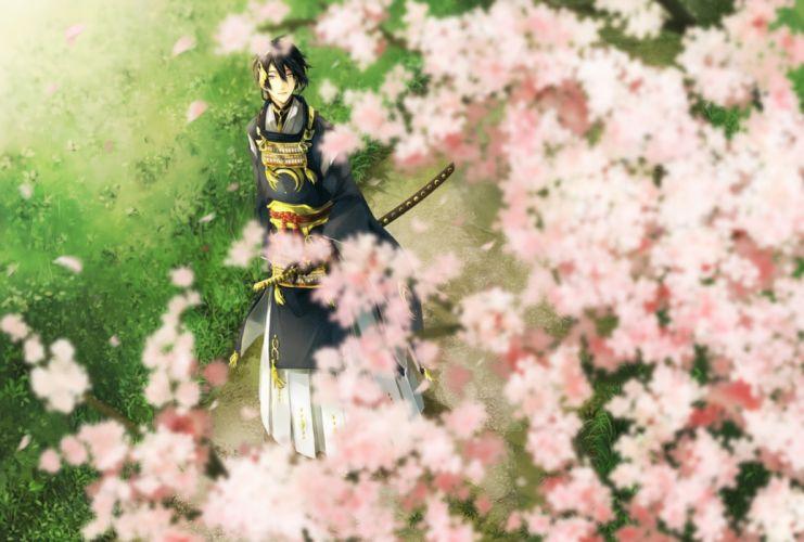 sakura touken ranbu anime series guy characters original wallpaper