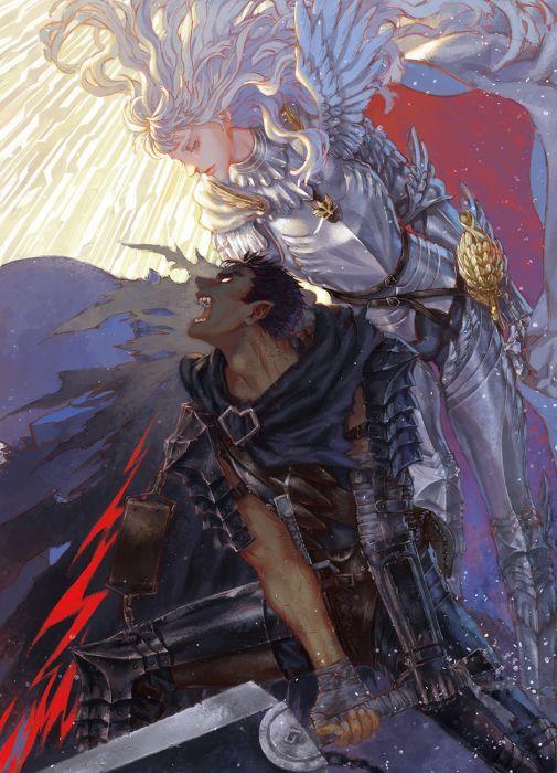 bersek anime girl angel male sword wallpaper