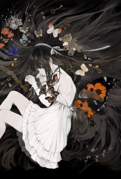 original anime girl butterfly dress wallpaper