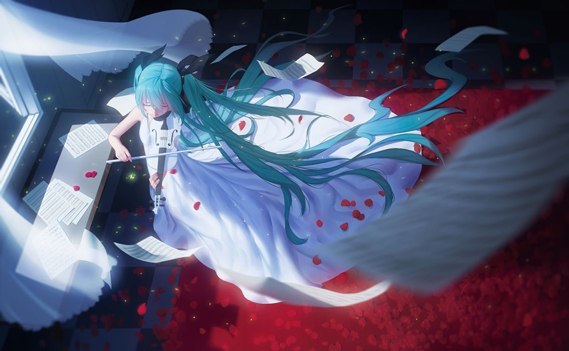 vocaloid musical instrument original anime girl character hatsune miku wallpaper
