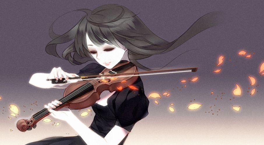 original musical instrument original anime girl wallpaper