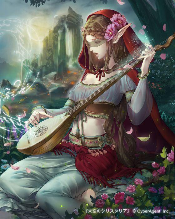 original esha musical instrument original anime girl wallpaper