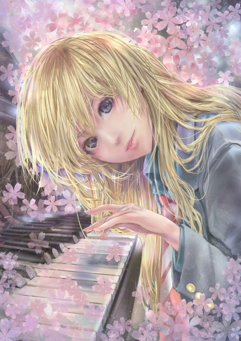shigatsu wa kimi no uso musical instrument original anime girl wallpaper