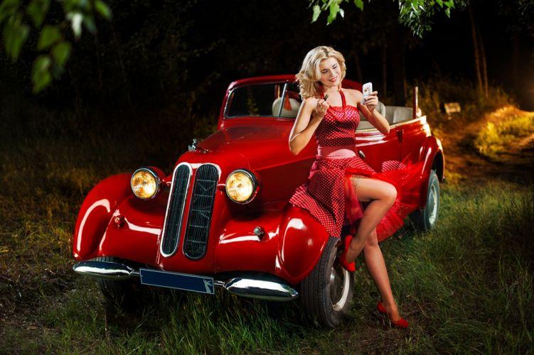 girl-car-retro-red wallpaper