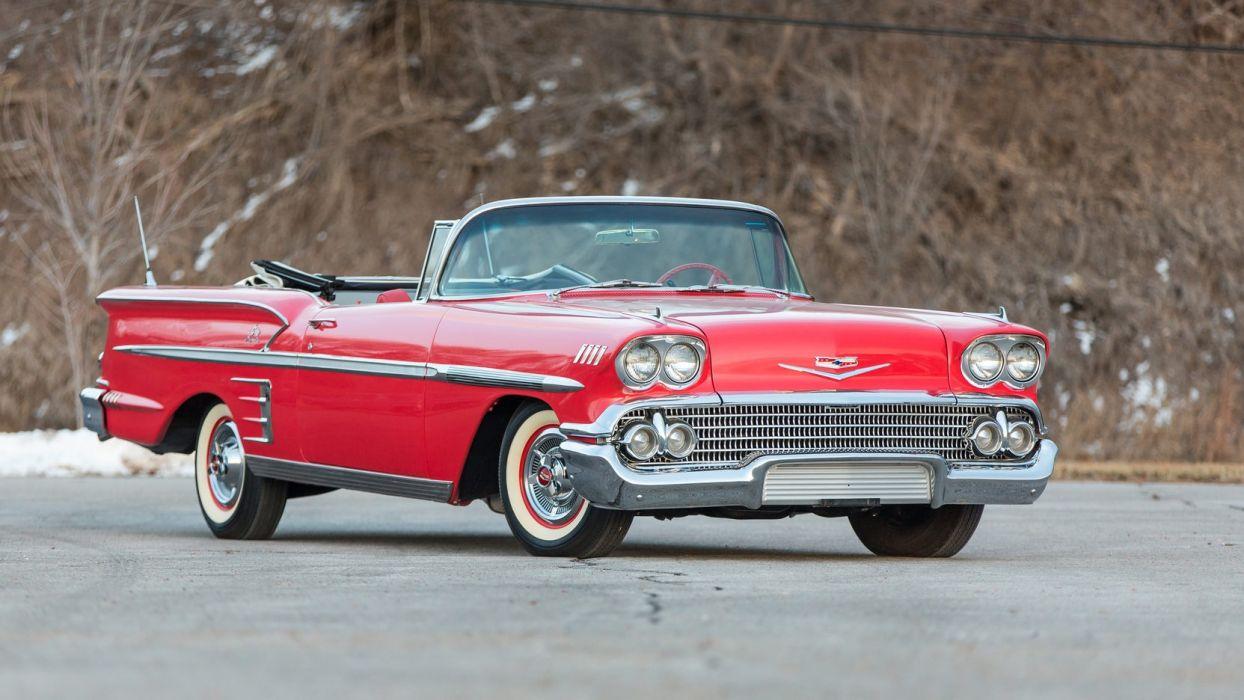 1958 CHEVROLET IMPALA CONVERTIBLE cars red wallpaper