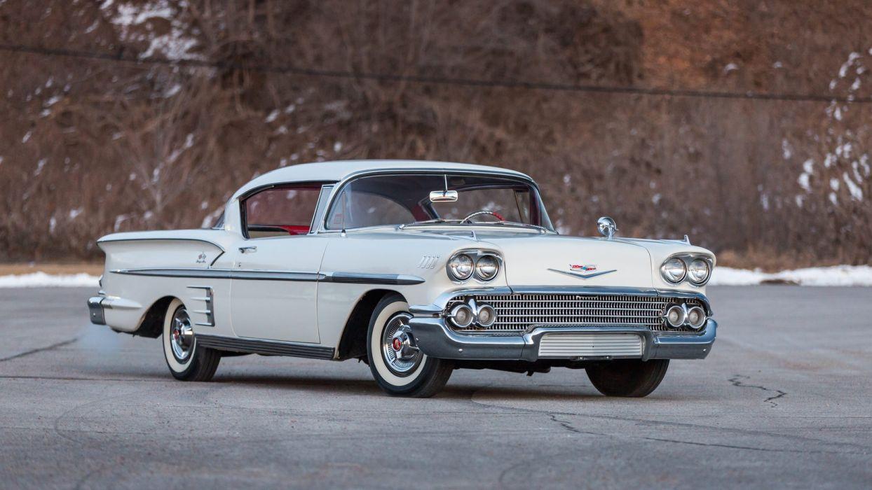 1958 CHEVROLET IMPALA cars white wallpaper