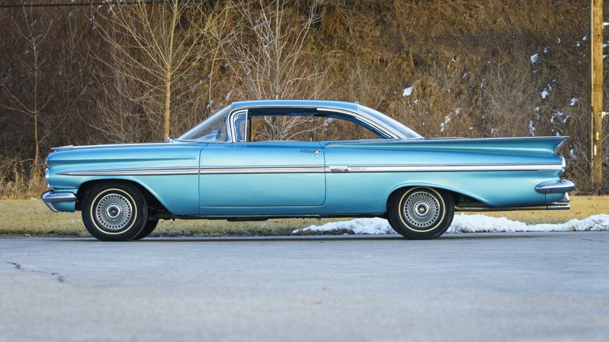 1959 CHEVROLET IMPALA cars blue wallpaper