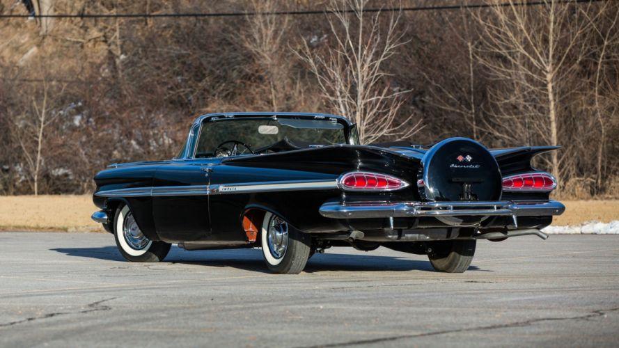 1959 CHEVROLET IMPALA CONVERTIBLE cars black wallpaper