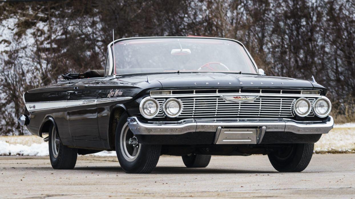 1961 CHEVROLET IMPALA (ss) convertible cars black wallpaper