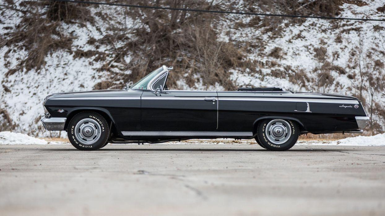 1962 CHEVROLET IMPALA (ss) convertible cars black wallpaper