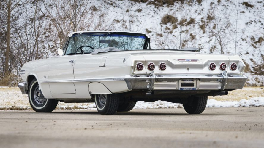 1963 CHEVROLET IMPALA (ss) convertible cars white wallpaper