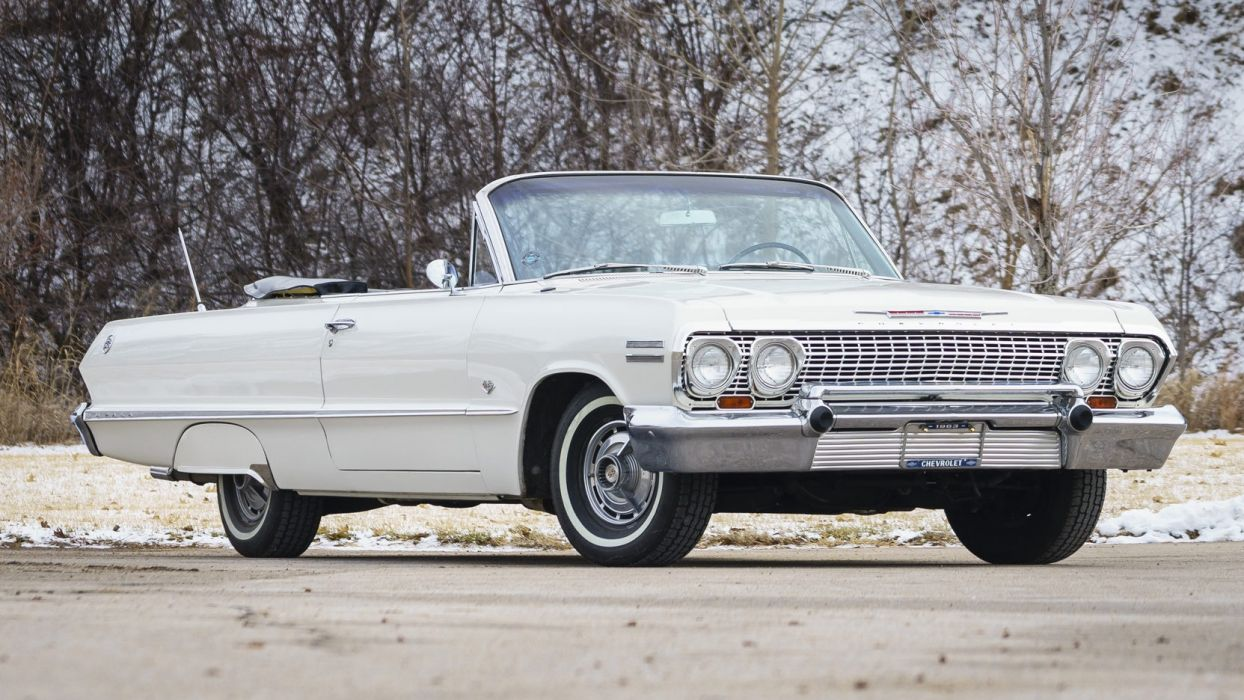 1963 CHEVROLET IMPALA (ss) convertible cars white wallpaper