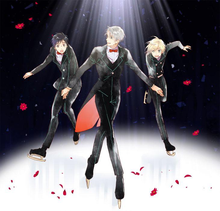 original anime boys petals flower yuri!!! on ice wallpaper