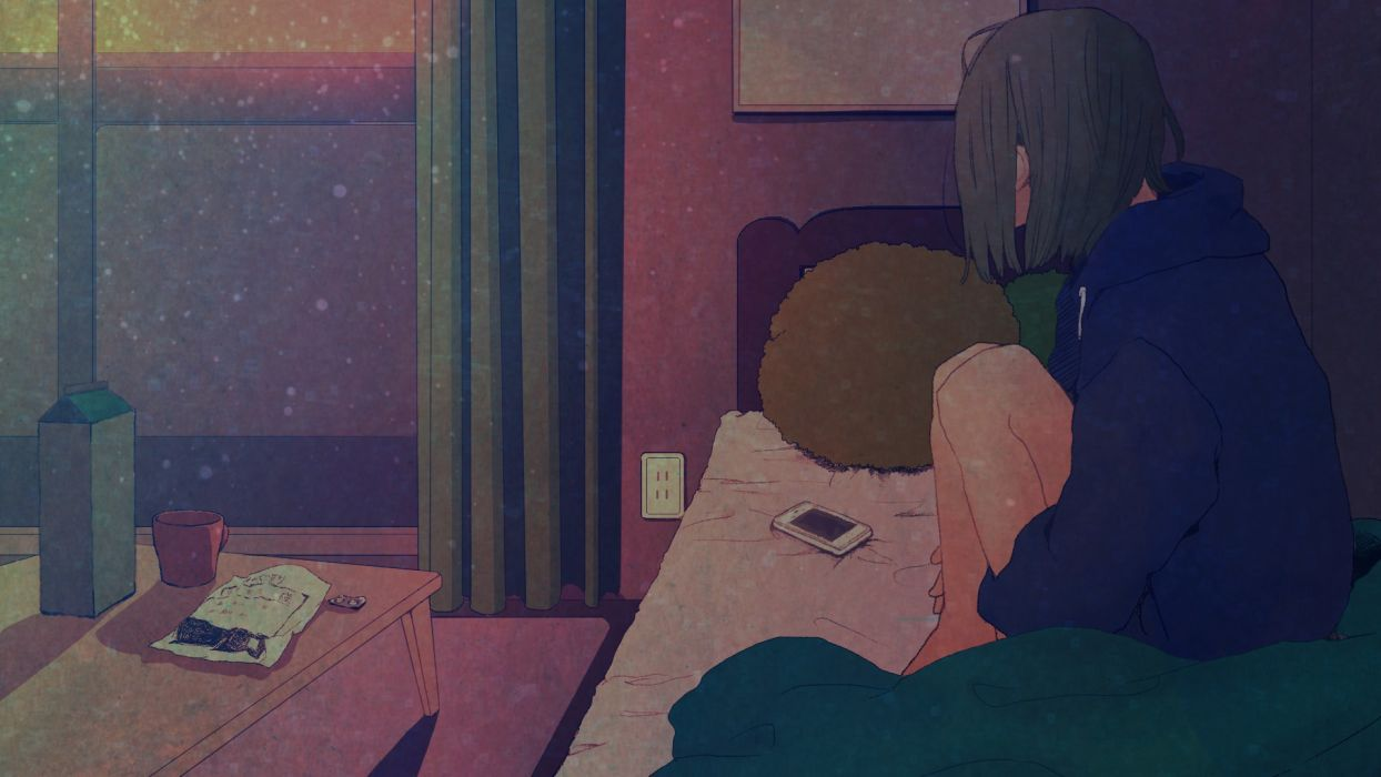 original anime girl room window wallpaper