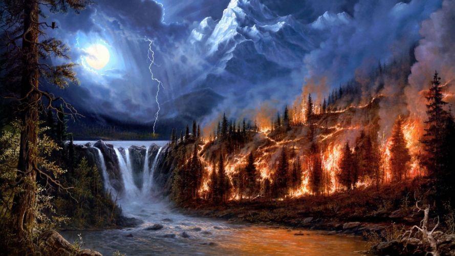 naturaleza incendio bosque rio wallpaper