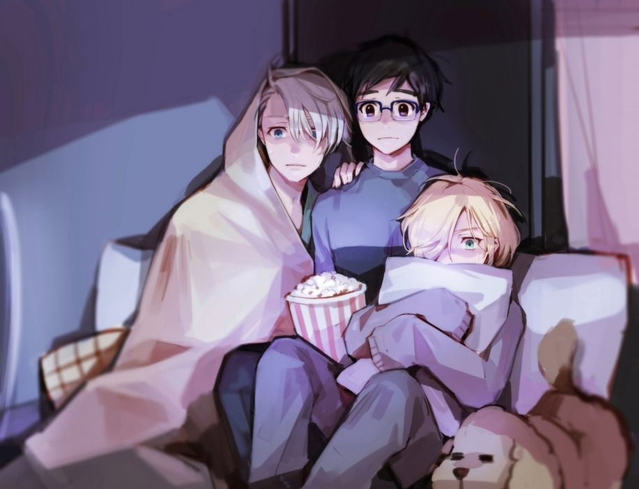 Katsuki Yuuri Viktor Nikiforov Yuri Plisetsky Yuri On Ice Watching Horror Movie anime series character original wallpaper