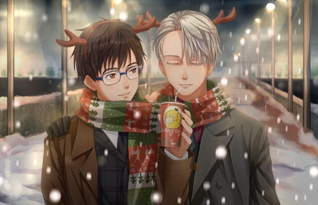 Katsuki Yuuri Victor Nikiforov Psyduck Drink Winter Scarf Yuri On Ice Cute anime series character original wallpaper