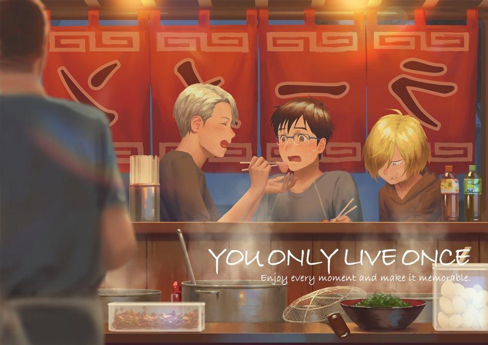 Katsuki Yuuri Viktor Nikiforov Plisetsky Yuri Yuri On Ice Eating anime series character original wallpaper