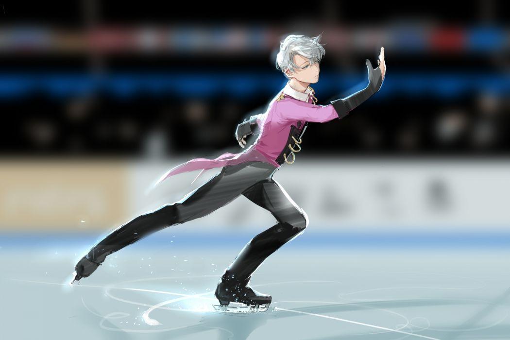 Viktor Nikiforov Yuri On Ice Skating anime series character original wallpaper