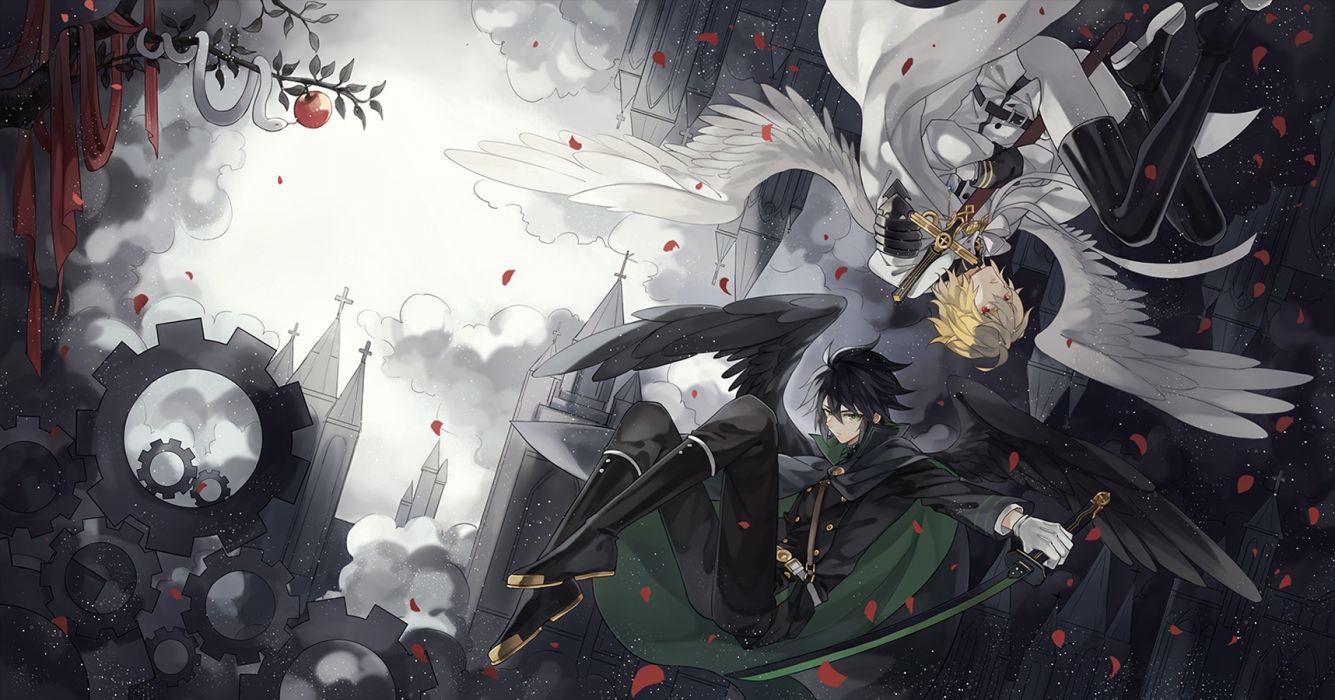 Owari No Seraph Mikaela Hyakuya Yuuchirou Hyakuya Anime Boys Wings anime series character original wallpaper