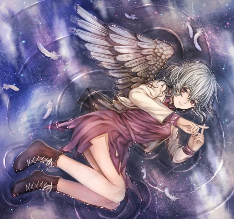Kishin Sagume Touhou Wings Silver Hair Lying Down Dress anime original wallpaper
