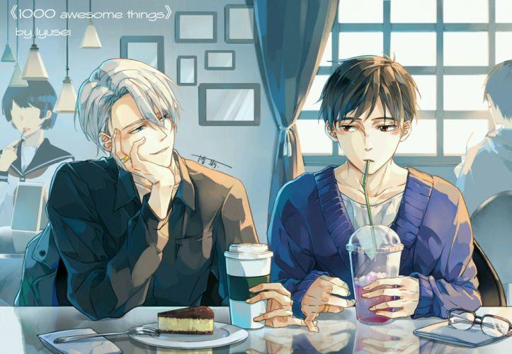 anime series character original Katsuki Yuuri Viktor Nikiforov Yuri On Ice Drinks Cafe wallpaper
