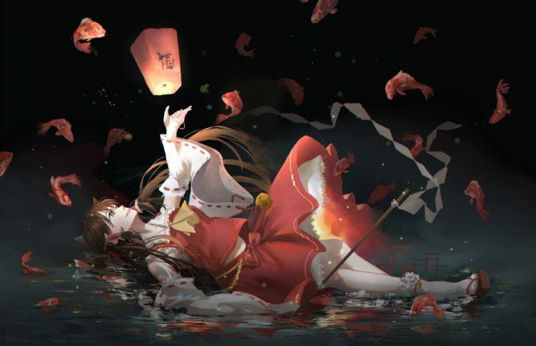 Hakurei Reimu Falling Down Fishes Touhou Smiling Brown Hair Water wallpaper