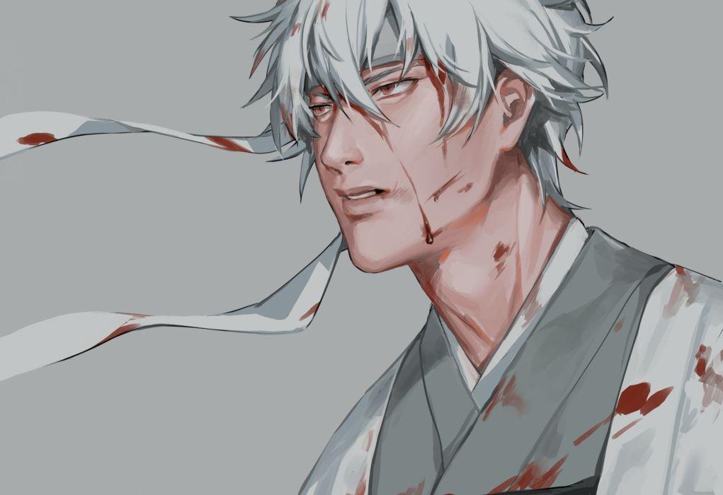 anime series character original Gintama Sakata Gintoki Semi Realistic White Hair Scars wallpaper