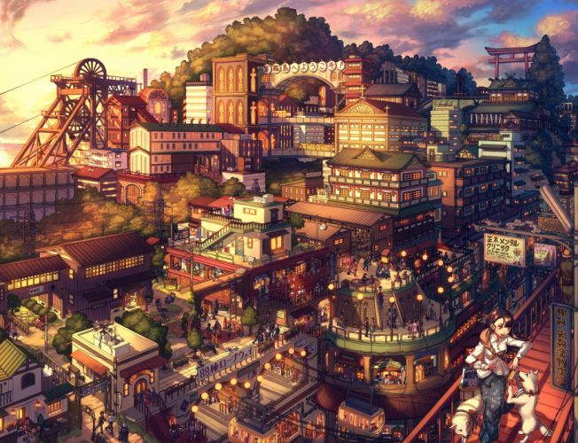 Anime Landscape Cityscape People Japanese Architecture Shrine Asano Shiki #DATDETAILS wallpaper