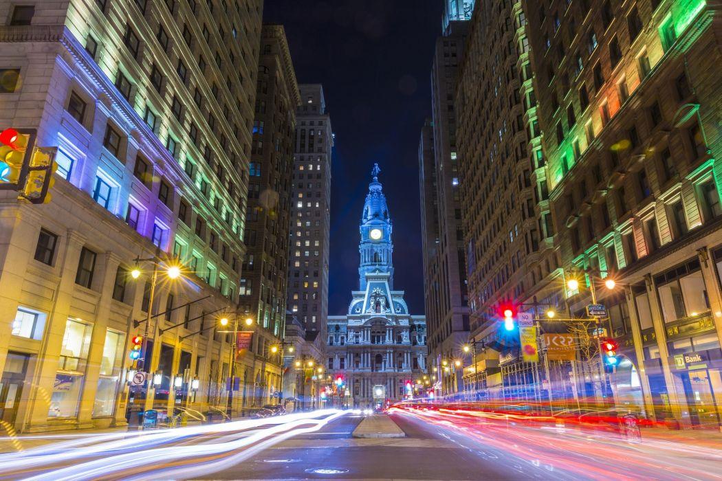 Usa Philadelphia Road Buildings wallpaper