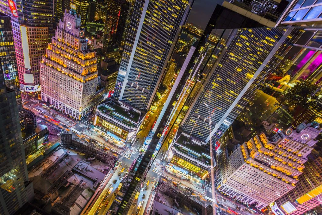 Usa New York Times Square Skyscrapers Buildings Wallpaper