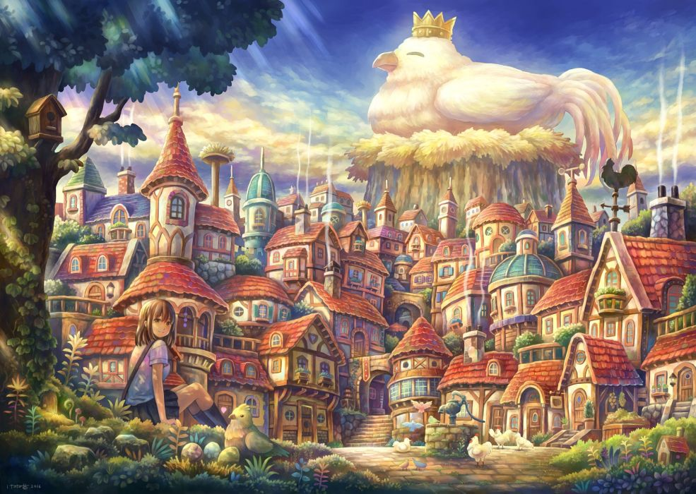 Anime Girl Fantasy World Cityscape Buildings Sitting Giant Bird Wallpaper 1920x1364 1078751 Wallpaperup