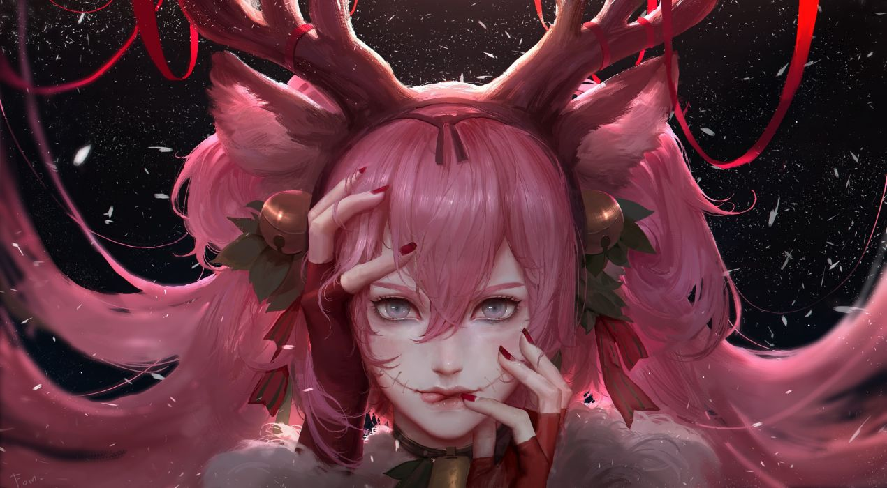 Anime Girl Christmas Pink Hair Semi Realistic Petals Deer Horns wallpaper