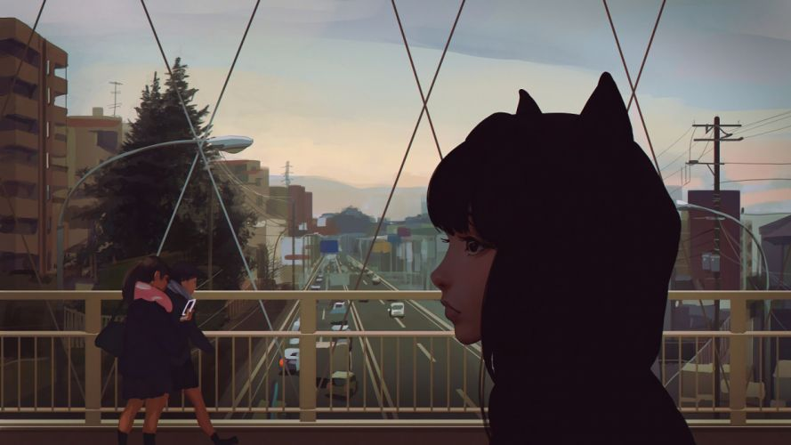 Anime Girl Semi Realistic Profile View Artwork wallpaper