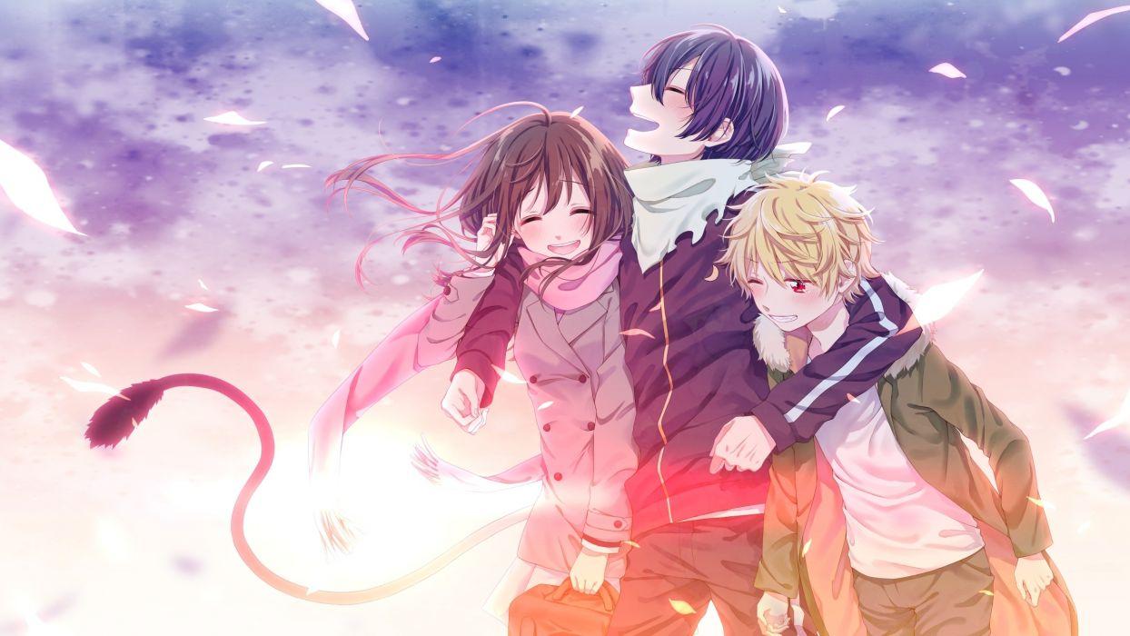 Noragami Iki Hiyori Yato Yukine Leaves Happy Moments anime series character original wallpaper