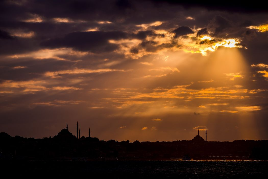 Turkey Istanbul Mosque Silhouette Sunset Clouds Sky wallpaper