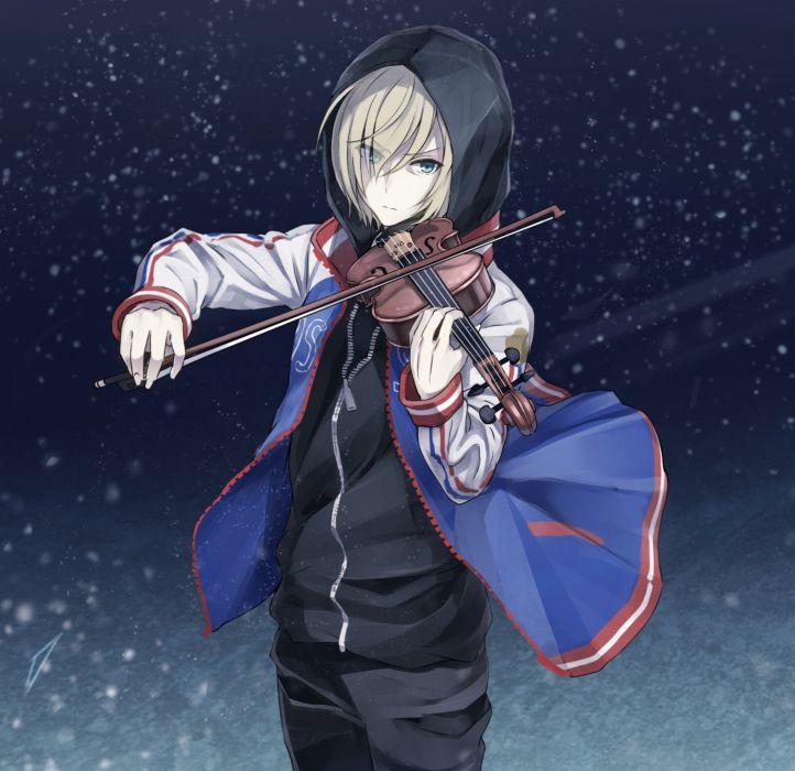 anime series character original Plisetsky Yuri Violin Hood Yuri On Ice Snow wallpaper