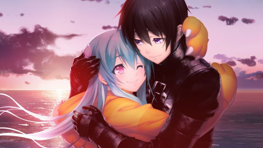 Nagaoka Souun Hougyou Ilia Hug Romantic Couple Tokyo Necro Visual Novel anime series character original wallpaper