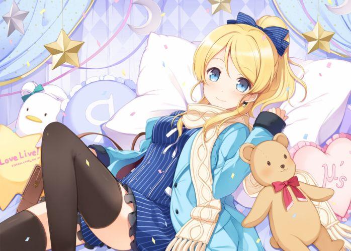 Ayase Eri Love Live Blonde Teddy Bear Scarf Stars Room anime series character original wallpaper