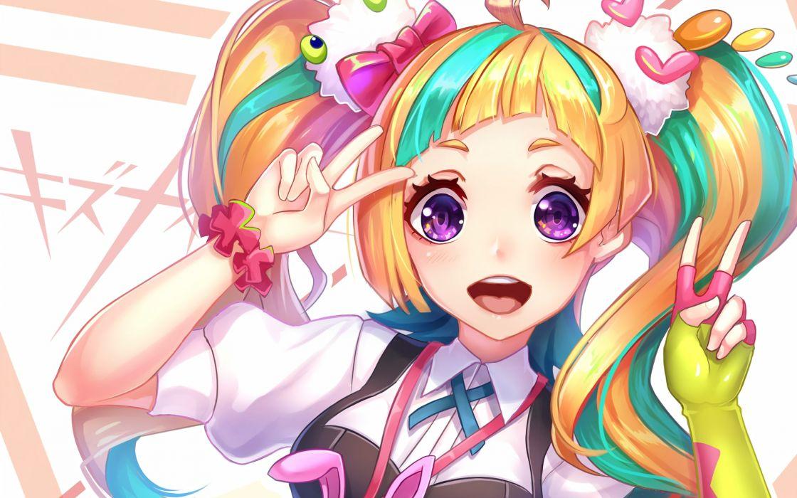 Niyama Nico Kiznaiver Blonde Smiling anime series character original wallpaper