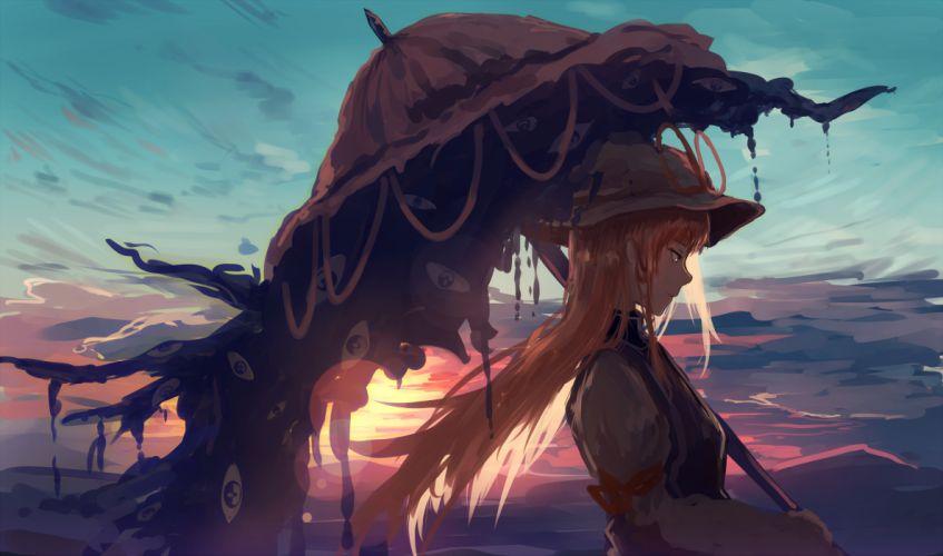 Touhou Yakumo Yukari Blonde Umbrella Profile View anime series character original wallpaper
