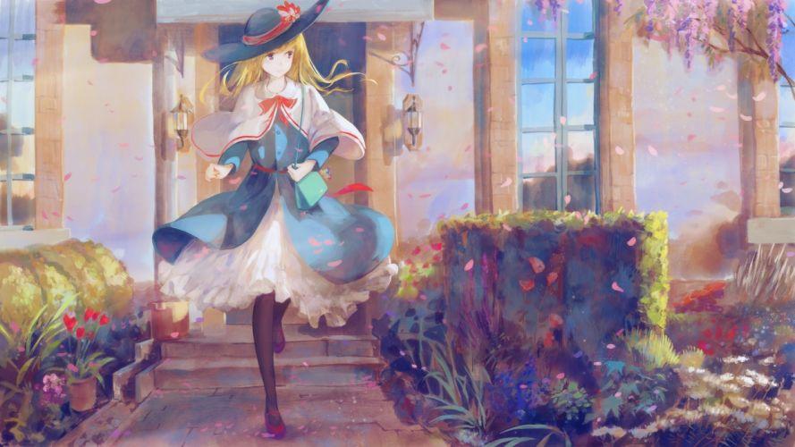 Alice Margatroid Touhou Painting Blonde Petals wallpaper