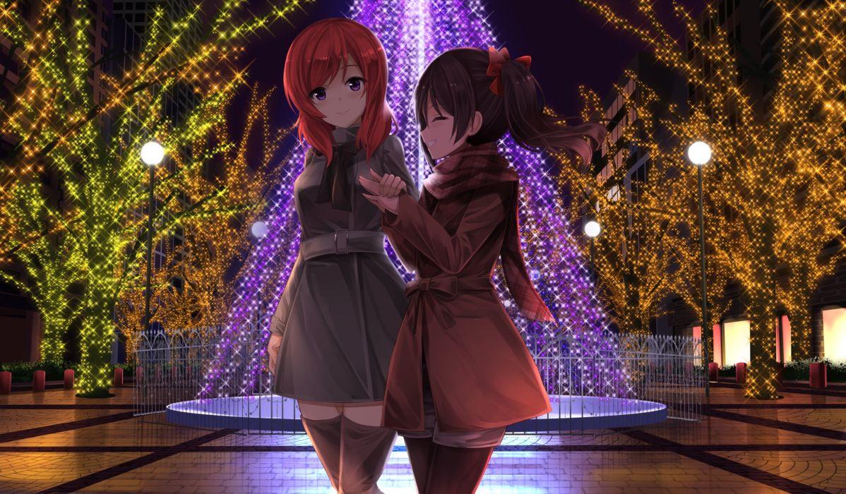 Love Live Nishikino Maki Yazawa Nico Christmas Winter Coat Smiling anime series character original wallpaper