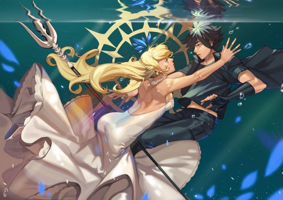 Final Fantasy Xv Noctis Lucis Caelum Lunafreya Nox Fleuret Underwater Anime Style original anime girl wallpaper