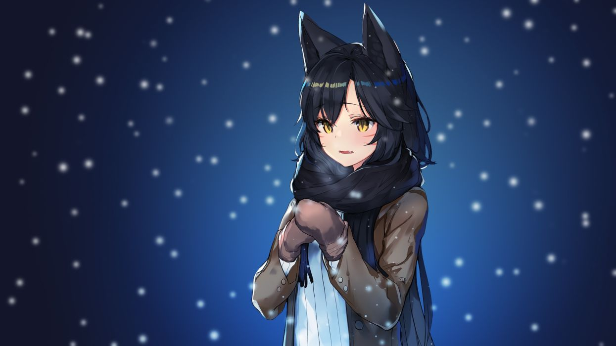 original anime girl League Of Legends Ahri Snow Scarf Anime Style wallpaper