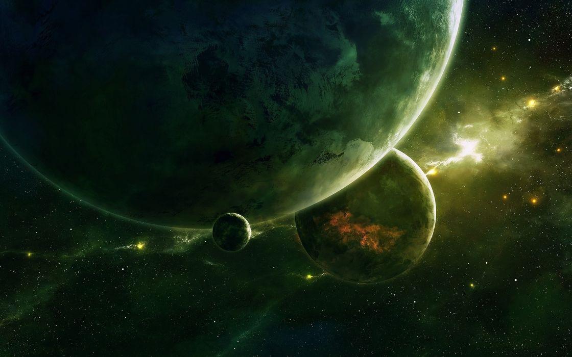 Planets Green Nebula Stars wallpaper