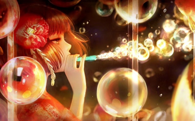 Anime Girl Bubbles Profile View Painting Short Hair wallpaper