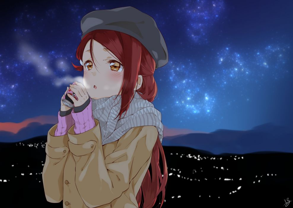 Love Live Sunshine Nishikino Maki Winter Scarf Drink Night Stars original anime girl wallpaper